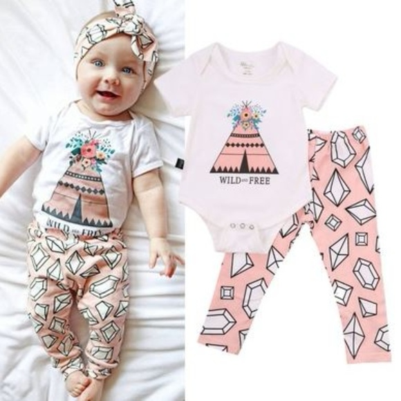 H.P. Boutique u201cWild and free  baby outfit  sc 1 st  Poshmark & Matching Sets | Hp Boutique Wild And Free Baby Outfit | Poshmark
